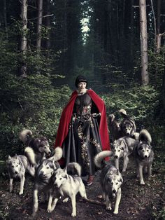 Little Red Ridding Hood and her pack of wolves