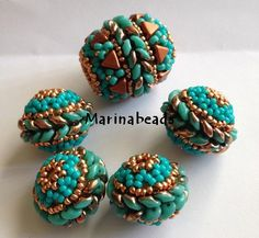 TUTORIAL Superduo beaded bead .Set to make 3 by MarinaBeads06