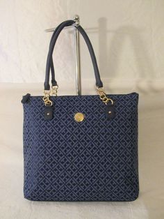 Tommy Hilfiger Handbag Tote 6937081 478 Blue Gold Retail Price $89.00 #TommyHilfiger #Totes