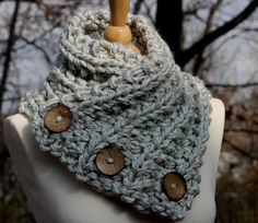 READY TO SHIP! Hand Knitted 3 button Scarf, Shawl, Shoulder Wrap in Gray Vanilla, Office Snuggy