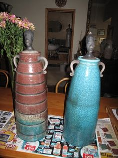 I was making these raku woman vessels at this time...