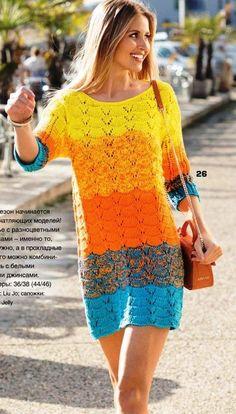 Разноцветное платье спицами