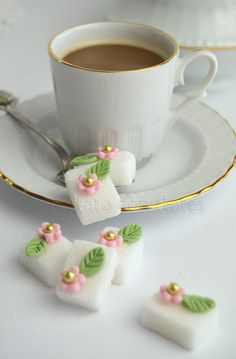 Decorated sugar cubes for your tea party.  |  Tea Time Love
