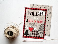 Boy Birthday Invitation Printable, Outdoor Camping Party Invite, Mountains Lumberjack Adventure, Winter Woodland, Red Buffalo Plaid Rustic by INVITEDbyAudriana on Etsy https://www.etsy.com/listing/250617770/boy-birthday-invitation-printable