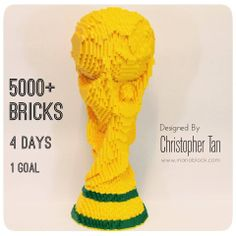 Over 5000 bricks went into making this 1:1 full scale model of the World Cup trophy ... It's my most complex build yet ...