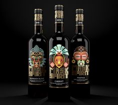 Mask Spirit. Collection of New World wines by Brandiziac, via Behance