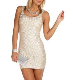 Gold Jewel and Bead Lurex Dress