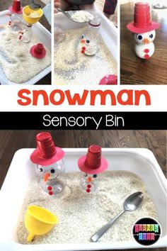 Christmas Preschool Activities That Are Merry & Bright Snowman Sensory Bin made with rice and Pom Wonderful bottles! Great activity for preschoolers for a activities bright christmas merry preschool winteranimals winterboots wintercoat wintercouple wi
