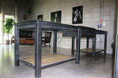Custom Made Modern Geometric Kitchen Island Table by Across Metal Designs