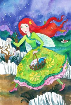 MESEMALOM - Sarkadi Ágnes meseíró honlapja - a képen: A tündérgubó c. mese illusztrációja Disney Characters, Fictional Characters, Disney Princess, Blog, Painting, Art, Art Background, Painting Art, Kunst