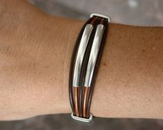Brown leather bracelet with zamak clasp and zamak by Rainbow4You, $25.00