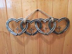 Horse shoe heart & nail cross decoration