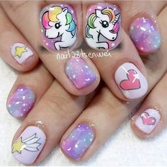 43 Unique Spring And Summer Nails Color Ideas That You Must Try 71 Cute Toe Nails, Super Cute Nails, Pretty Nail Art, Cute Nail Art, Girls Nail Designs, Nail Art Designs, Girls Nails, Kid Nails, Little Girl Nails
