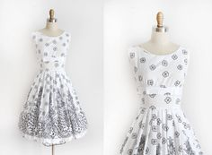 vintage 1950s sun dress // 50s cotton floral day by TrunkofDresses