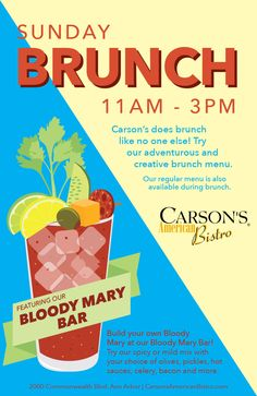 Carson's American Bistro Brunch Menu Brunch Menu, Sunday Brunch, Bloody Mary Bar, Spicy, American, Brunch