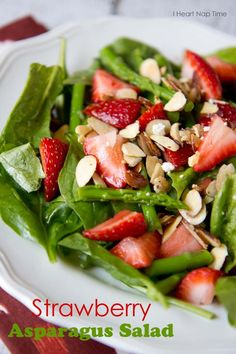 Strawberry asparagus salad with sugared almonds on iheartnaptime.net .  A healthy and delicious meal!