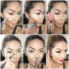 Step by step pictorial from this mornings highlight and contour.  1⃣ Apply light amount of foundation on skin to even out imperfections. Then with my Morphe brush M218 @Jennifer Milsaps L Edge Brushes I applied Kevin aucoin concealer in 04 (chin,nose,cheekbones/Undereye)  2⃣  I applied HD grafftobian concealer in Pecan to contour with @Jennifer Milsaps L Edge Brushes M218 around and under my cheekbones , forehead and down the sides of my nose to give the illusion that my Cheekbones and nose ...