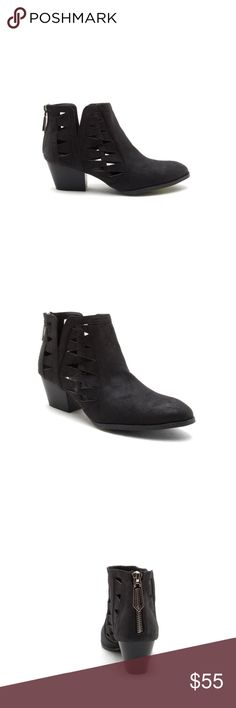 """🌟SALE🌟 the cutout oil finish bootie • style name: the cutout oil finish bootie • color: black • material: man made faux leatherette • trendy booties with side cutout designs • distressed oil finish look • zip back, stacked 2"""" heel • condition: brand new boutique item • please note the shoebox may be damaged - item is unaffected  ✅ bundle with 2+ items for a discount! ✅ posh compliant closet ⛔️ no trades THE EDGY SHOP Shoes Ankle Boots & Booties"""