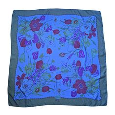 Beautiful Vintage Gucci ' Tulipano ' Blue Flower / Tulip Print Large Silk Scarf | From a collection of rare vintage scarves at https://www.1stdibs.com/fashion/accessories/scarves/