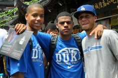 Andre Dawkins,  Quinn Cook and Seth Curry