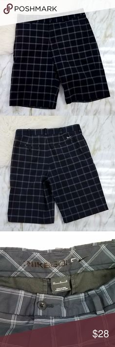 NIKE Golf Black Plaid Shorts Size 33 Front and back pockets and belt loops. Black with white and gray stripes. Measures about 16.5 inches across the waist, rise is about 11 inches, and inseam is about 12 inches.  Thank you for looking and please check out my closet!  G36 Nike Shorts Athletic