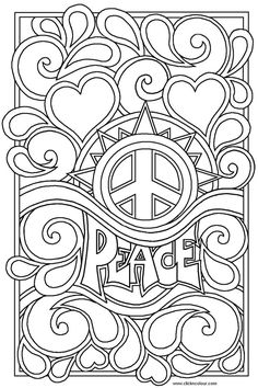 Item Hippie Coloring Design The Word Artwork | Color Periods | Free Coloring Pages