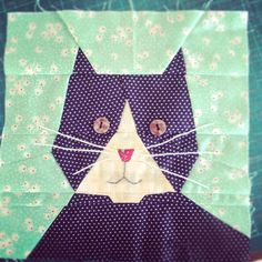 Paper pieced cat quilt block, Lawson and Lotti