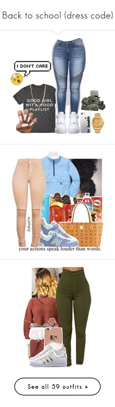 """""""Back to school (dress code)"""" by leah143love ❤ liked on Polyvore featuring NIKE, Versace, Casetify, ASOS, MCM, New Balance, WithChic, MICHAEL Michael Kors, Linda Farrow and C/FAN"""
