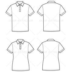 Women's And Men's Polo T-Shirt Fashion Flat Templates