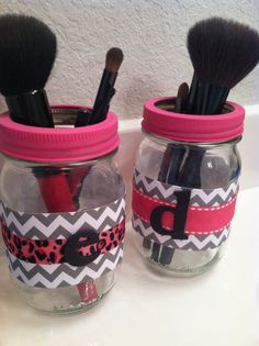 Mason jar make up brush holders I made for my best friends!