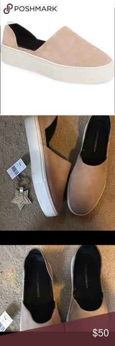 Rebecca Minkoff Nan Slip On Sneakers! I am SO sad to be reposhing these! They are in excellent condition and I was thrilled when I received them. Unfortunately they are too big - I typically wear a 7.5/8. Absolutely adorable slip on sneakers in tan. Slight platform bottom. Previous posher only wore twice as they were too small for her. Price is FIRM. I would just like to get back what I paid 😊 Rebecca Minkoff Shoes Sneakers