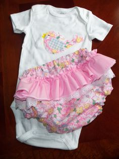 Boutique Embellished Baby Onsie Set with Diaper Cover on Etsy, $24.99