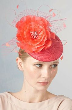 Jane Taylor Millinery, S/S 2014. April- Medium Straw Cocktail Hat with Feather Flower.