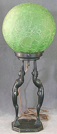 Vintage Art Deco Nude Double Lady Table Lamp. Please click on the image for more information.