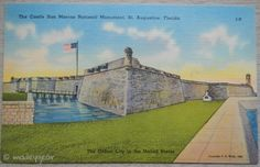 Post Card *LINEN* The Castle San Marcos, St. Augustine FLORIDA