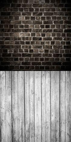 Black brick with grey wood backdrop