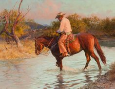 Tom Ryan, Sunset Stroll, oil on board 17 x 22 inches, $38,500.  For more information about this painting contact the gallery at 817-416-2600.