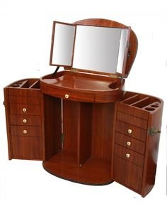 Marie Galante Makeup Trunk / Vanity Rosewood Finish - furniture - Starbay