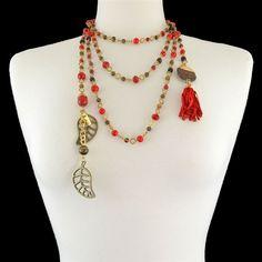 Brown Red Long Leaf Tassel Tie Necklace