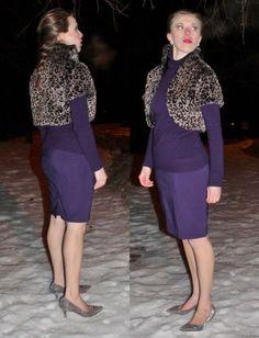 Modest Fashion Bolero: Le Chateau, Turtleneck: Ricki's Skirt: Ricki's Shoes: Nine West, Earrings: Le Chateau #fionaoutfits #yycfashion