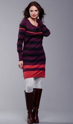 Tara Breastfeeding Sweater dress Aubergine/Black