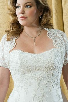 Lace top is great for plus size brides