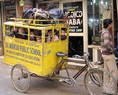 Transportation ---- School Bus Tricycle in India Bike Motor, Velo Cargo, Tricycle Bike, Bicycle Sidecar, Short Bus, Picture Writing Prompts, Writing Topics, India School, Bus Driver