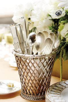 Corral silverware on a buffet table!