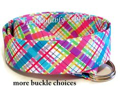 Womens belt in pink, blue, purple and white bias plaid in sized XS to Plus Size This colorful Fashionably Lauren fabric belt will be a great accessory to your from wardrobe. Its so easy to look completely put together in a pair of jeans and a t-shirt when you are wearing this belt. The belt is built with several layers of stiffener for sturdiness and to prevent buckle slippage. =================== H...