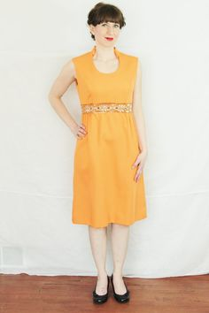 Vintage Orange Leslie Fay Dress With High by foundundertheeaves, $55.00