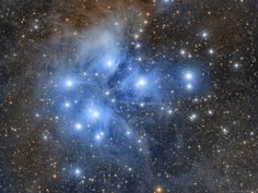 The Pleiades star cluster (M45) is a marvelous gathering of stars to view through binoculars. It resides in the constellation Taurus the Bull.