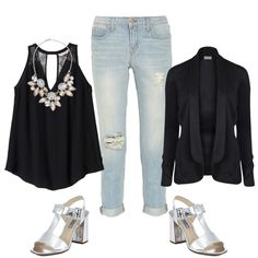 Holiday-outfits-for-apple-shaped-women-4 with jeans, black tank statement necklace and black blazer with silver metallic block heels