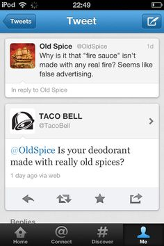 Taco Bell vs Old Spice on Twitter (really happened on July 9 2012)