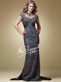 Lace Evening Gown with Satin Train | Mac Duggal 80168D